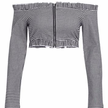 Gingham Off The Shoulder Zip Up Crop Top