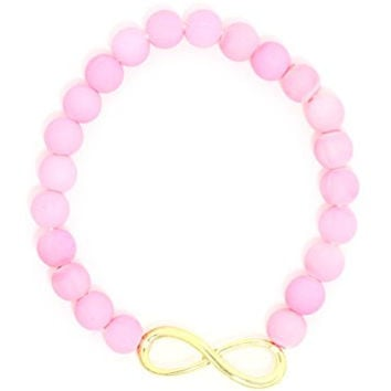 Infinity Sign Beaded Stretch Bracelet Pink Cuff BA47 Fashion Jewelry