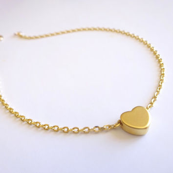 Gold Anklet Gold Ankle Bracelet Dainty Gold Anklet Delicate Anklet Tiny Gold Anklet Body Jewelry Gold Jewelry, Heart Bead Simple Gold Anklet