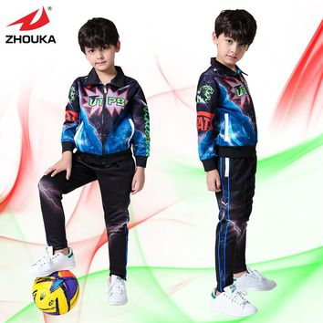 Kids sublimation customized jacket,100%polyester tracksuit set,with long pants,any color can be customized