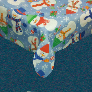 """Santa's Little Helper Collection Holiday Vinyl Tablecloth with Polyester Flannel Backing -  Holiday Friends Rectangle (52"""" x 90"""")"""