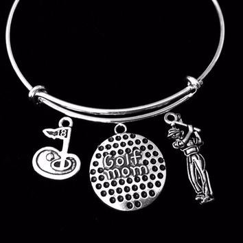 Golf Mom Jewelry Adjustable Charm Bracelet Expandable Silver Bangle One Size Fits All Gift Trendy Golfer 18th Hole