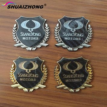 Shuaizhong 1pair Ssangyong MOTORS Carbon fiber car logo sticker rear decorate badge Side Fender emblem