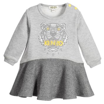 Kenzo Baby Girls Grey Tiger Sweatshirt-Dress