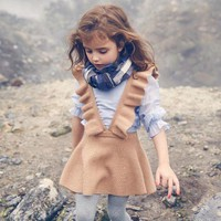 Girls Knitted Ruffled Suspender Dress Blue & Brown