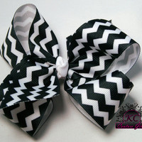 Chevron Hair Bow Boutique Bow Black and White 4in or 5in