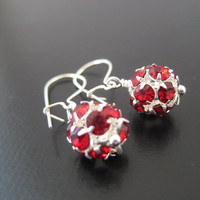Dottie Earrings Holiday Red by JulieEllynDesigns on Etsy
