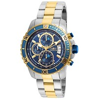 INVICTA Pro Diver Mens Chronograph - Stainless & Gold-Tone - Blue Dial - Date