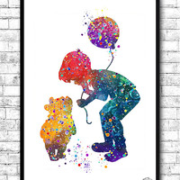 Winnie the Pooh and Christopher Robin 2 Watercolor Print Children's Nursery Art Print Wall Poster Giclee Wall Decor Home Decor Wall Hanging