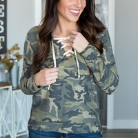 Camo Lace Up Pullover