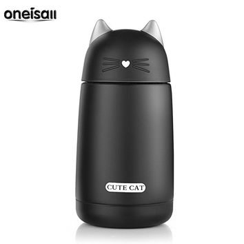ONEISALL SB60239 330ML Cute Cat Thermos, Leak-proof Cat Tumbler, Kids Thermos Bottle (Black)