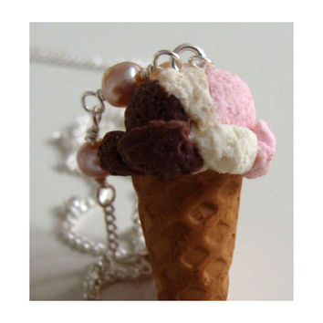 Neapolitan Ice Cream Necklace Miniature Food Polymer by TheMenu