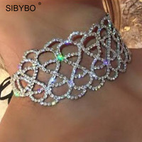 Choker Necklace 2017 New Fashion Wide Crystal Rhinestone Statement Necklace Jewelry Sexy Club Party Women Lace Up Chokers