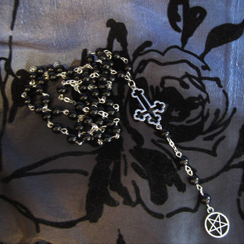 Satanic Rosary, Inverted cross & Pentagram, black/silver