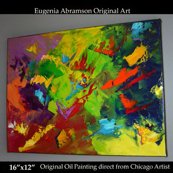 Original Abstract Modern Oil Painting on Canvas 16x12  Fine Art palette knife technique Contemporary Bright Wall Decor by Eugenia Abramson
