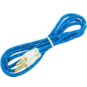 Rope Braided Aux Auxiliary Cable Cord 3.5mm - 3FT Blue for Samsung Galaxy Note 4