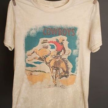 "Gina ""Cowboy Bronc"" Bleached Mil Green Tee-STORE"