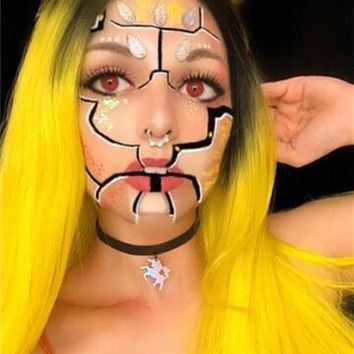 Long Anime Yellow Cosplay Ombre Wave Synthetic Lace Front Wig