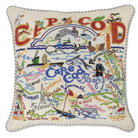 Cape Cod Hand Embroidered Pillow