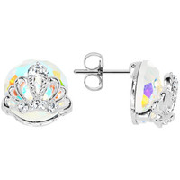 Aurora Gem Paved Regal Crown Stud Earrings | Body Candy Body Jewelry