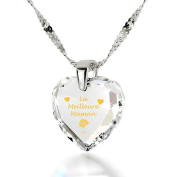 """Best Mom"" in French, 14k White Gold Necklace, Cubic Zirconia"