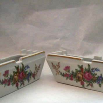 Vintage Ashtray /  Box Porcelain Roses 2 Piece 1960s - Measures 5 X 3  X 1 And 3/4 inches