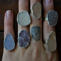 Lux Divine Small Druzy Stackable Gemstone Ring Silver