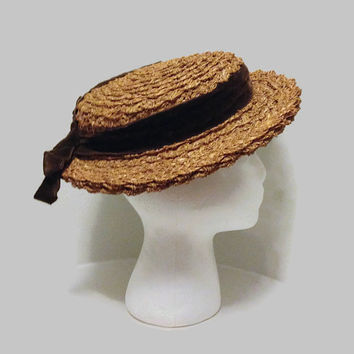 1940s Hat / 1950s Hat / Straw Wide Brim Tilt Hat with Brown Velvet Ribbon, Boater Hat
