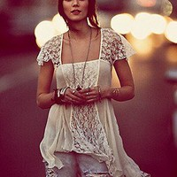 Free People  On A Whim Lace Top at Free People Clothing Boutique