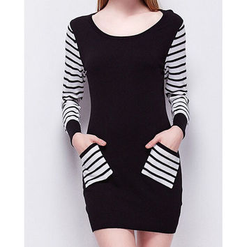 Striped long-sleeved stitching dress