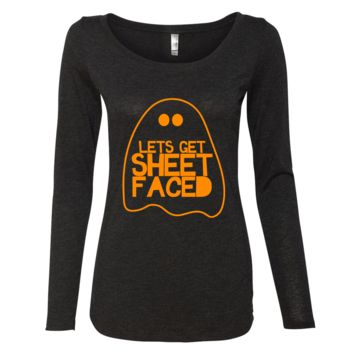 Ladies Lets Get Sheet Faced Halloween Long Sleeve Shirt