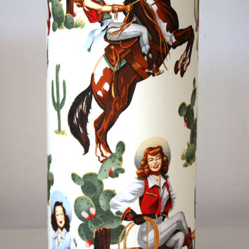 retro pinup cowgirl lamps