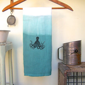 Octopus  Decor // Blue Ombre Dyed Kitchen Towel //  Flour Sack // Shabby Beach Cottage Kitchen // Coastal Decor //  Dip Dyed Hand Towel