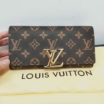 LV Louis Vuitton Popular Women Retro Leather Buckle Wallet Purse LV Print