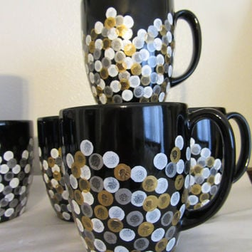 Hand Painted Coffee Cups Mugs -Unique One of a Kind - Black With White, Silver, Gold HAPPY DOTS - Set of 4 - Awesome Gift Idea