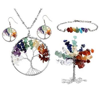 SHIP BY USPS: Top Plaza 7 Chakra Tree Of Life Crystals Jewelry Decor Set - Copper Wire Wrap Tree of Life Tumbled Stones Pendant Necklace & Earrings & Crystal Money Tree & 7 Chakra Gemstone Bracelet