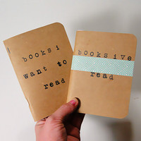 Journal gift set for book worms, notebooks for listing books read and to read, quote book, reader gift, list book.