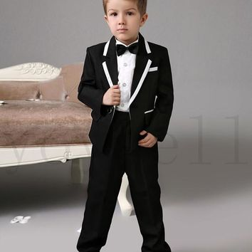 High quality Luxurious Black weding ring bearer suits Boys Tuxedo With Black Bow