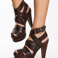 Jeffrey Campbell Ric Brown Flower Power Leather Platform Sandals
