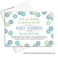 Baby boy shower invitations printable or printed | cute as a button baby shower invite for boys | mint blue - WLP00717