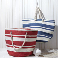 Two's Company Banded Striped Large Beach Town Tote Bag (Blue)