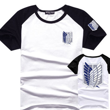 Attack On Titan T Shirt Men Cotton T-Shirt Anime Shingeki No Kyojin Tee Tshirt Survey Corps Logo Clothes Gift