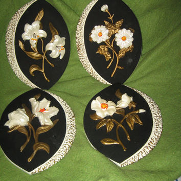 1958 Michigan composition chalkware lamp co flower sET OF 4 wall plaques