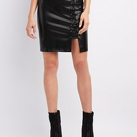 Faux Leather Lace-Up Mini Skirt