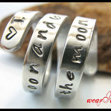 Personalized RingI love you to the moon and back  by keepWEARME
