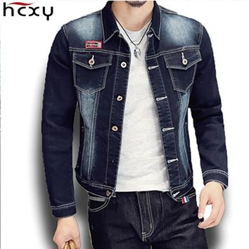 HCXY 2017 New Spring & Autumn Fashion Mens Denim jacket high quality Slim Fit Washing Cowboy Coat Men Jacket American style