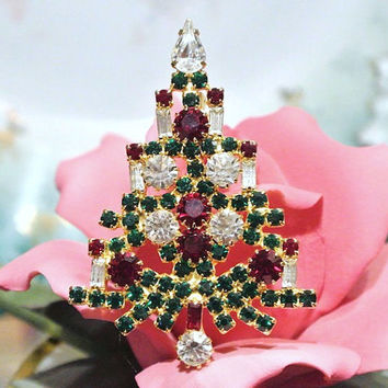 1950s 50s Warner Brooch Christmas Tree Six Candle Verified Unmarked Warner High Fashion Mid Century Brooch Traditional Red Green White Color