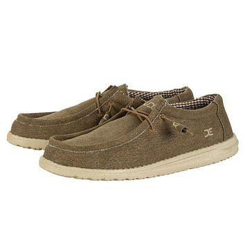 Wally Canvas Shoe in Nut by Hey Dude