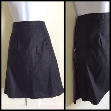 1980's Black Polished Cotton 28 inch High Waist Mini Skirt with brass zippers down the sides Punk Rock New Wave looks size S to M