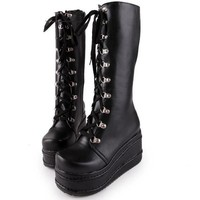 big size 34-43  fashion punk woman shoes cosplay boots knee high heel platform sexy zip winter party wedges boots